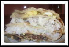 Блинный курник с грибами